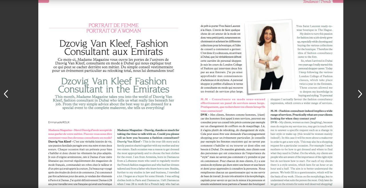 Interview in Madame Magazine